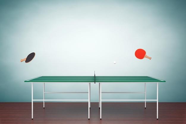Photo à l'ancienne. table de ping-pong avec pagaies au sol