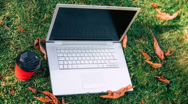 Photo à angle latéral d'un ordinateur portable argenté, placé sur une herbe verte et des feuilles sèches, près d'une tasse de café rouge