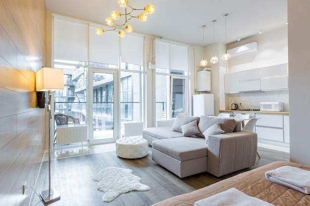 Photo d'une chambre dans un style moderne de couleur claire