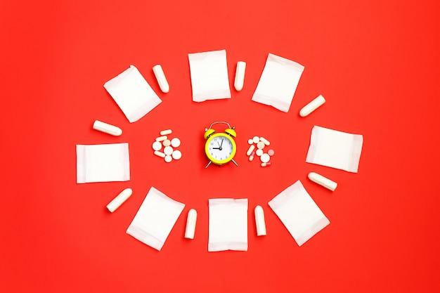 Photo de concept de santé des femmes, certains aspects du bien-être des femmes pendant la période mensuelle.