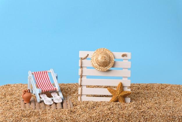 Photo conceptuelle avec un espace vide pour vos vacances de texte à la plage