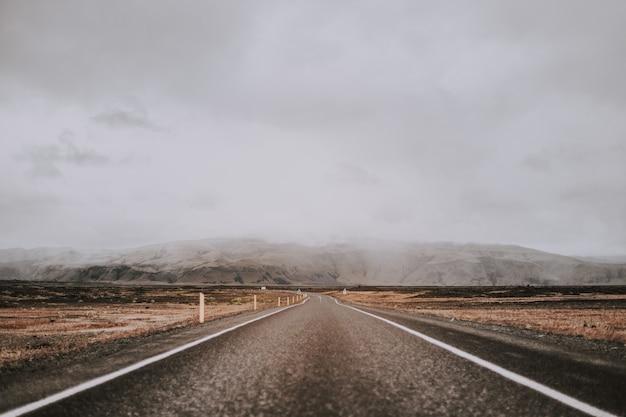 Photo à couper le souffle de la route entourée d'une nature étonnante sous un ciel nuageux