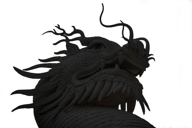 Photo d'un dragon noir sur fond blanc