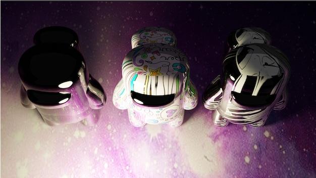 Photo d'une figure d'astronaute colorée faisant la queue