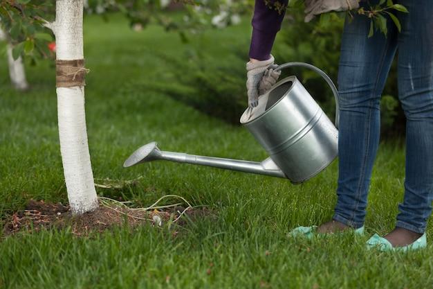 Photo gros plan d'une femme tenant un arrosoir en métal au jardin près de l'arbre