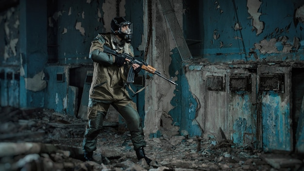 Photo d'un homme en uniforme avec une arme
