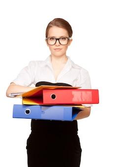 Photo d'une jeune femme d'affaires séduisante avec des dossiers
