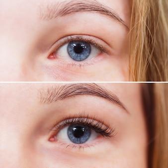 Photo macro d'un œil féminin avant et après l'extension des cils