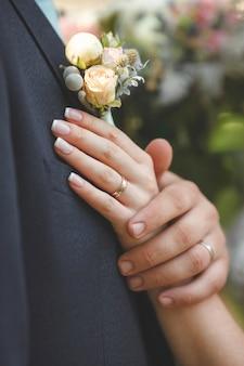 Photo de la main de la mariée avec l'anneau sur son doigt