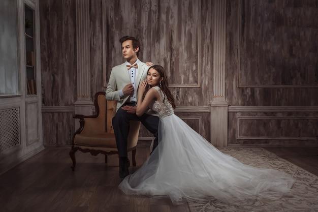 Photo de mariage de jeunes mariés, nouvelle famille