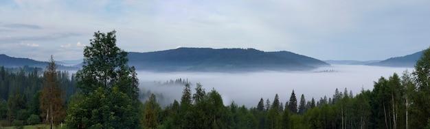 Photo panoramique du matin couvert de brouillard des carpates en ukraine