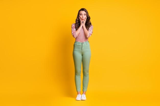 Photo pleine longueur de la taille du corps d'une femme surprise étonnée avec de longs cheveux touchant les joues avec les mains isolées sur fond de couleur jaune vif