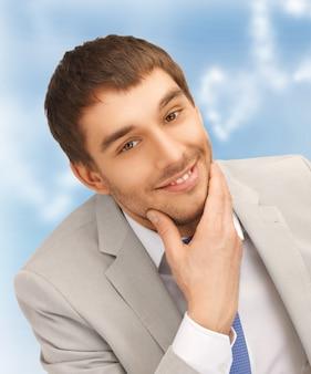 Photo portrait gros plan lumineux de l'homme d'affaires heureux
