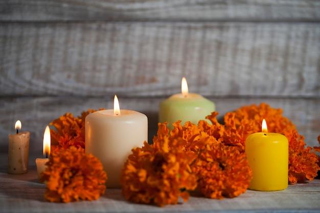 Photo pour el dãƒâa de muertos et halloween avec des attributs traditionnels