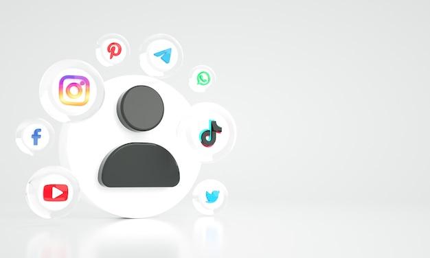 Photo premium de fond de marketing numérique sur les médias sociaux 3d