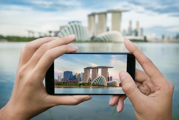 Photo de sable de marina bay depuis un téléphone intelligent