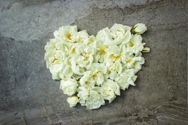 Photo stock stylisée maquette de produit numérique féminin avec des fleurs roses en forme de coeur sur gris minable