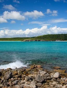 Photo verticale de vagues s'éclaboussant sur les rochers d'une plage aux eaux turquoises à porto rico