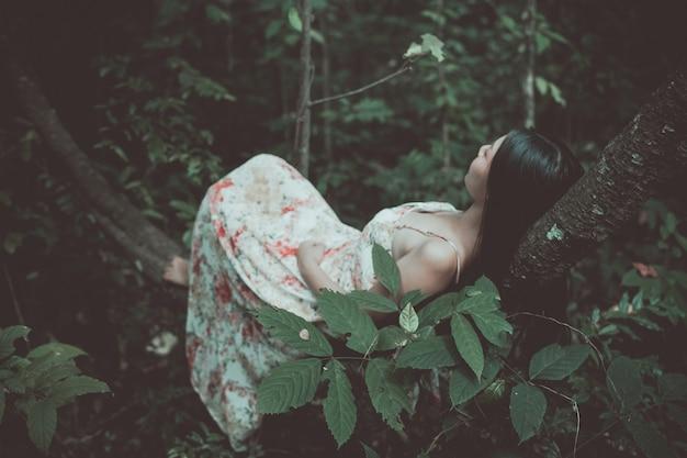 Photo vintage de belle femme allongée sur un arbre dans le parc