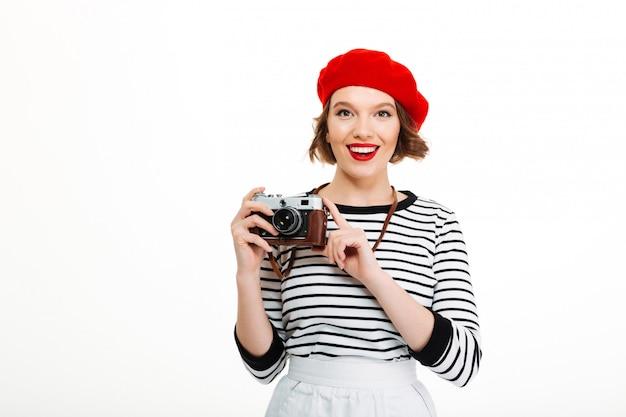 Photographe femme isolée sur blanc