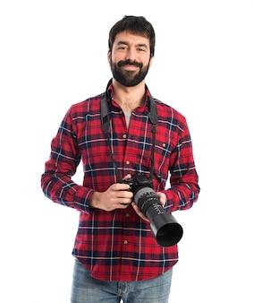 Photographe sur fond blanc