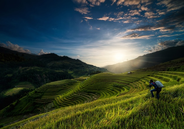 Photographe non-défini prenant la photo sur les champs de riz sur la terrasse