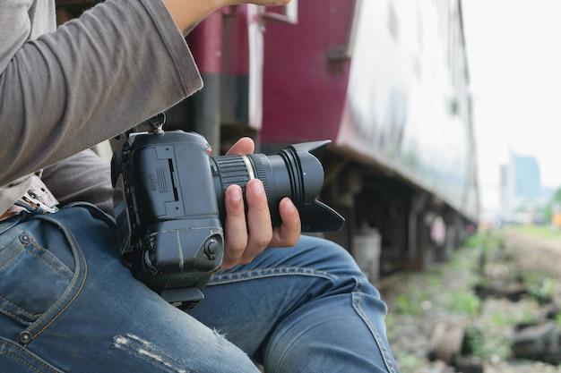 Photographe et train thaïlandais