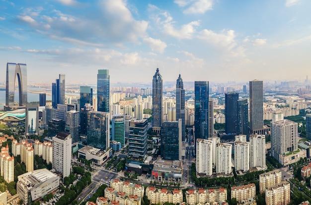 Photographie aérienne du centre financier de suzhou