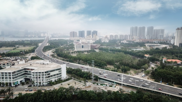 Photographie aérienne du paysage architectural de haikou, chine