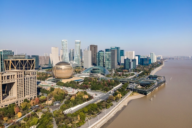 Photographie aérienne de la ligne d'horizon du paysage architectural urbain moderne à hangzhou, chine