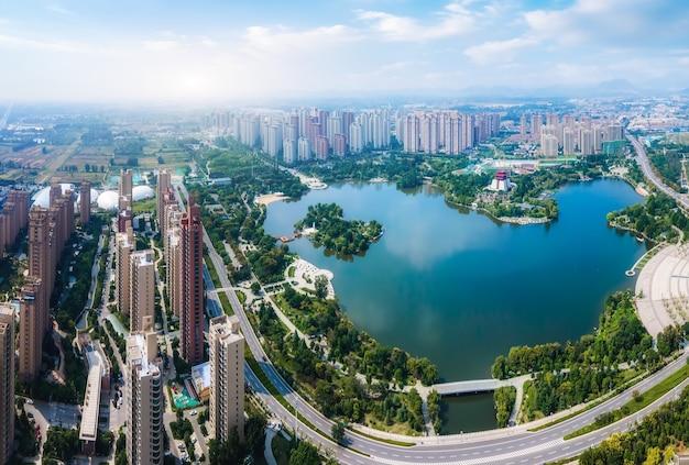 Photographie aérienne des paysages de la ville de zaozhuang en chine