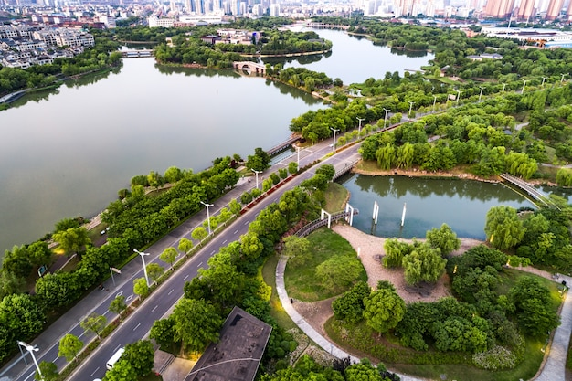 Photographie aérienne, ville chinoise