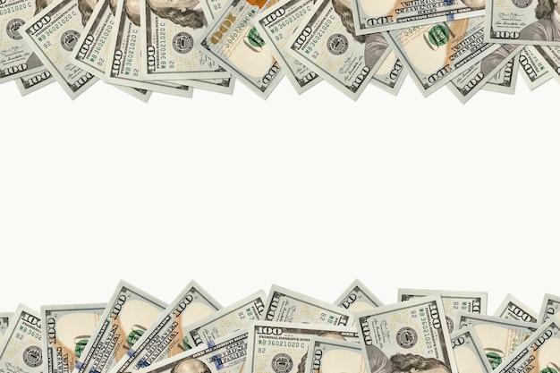 Photographie de dollars : cadre de billets de 100 dollars. arrière-plan sur le demi-cadre. l'endroit pour copier l'espace.