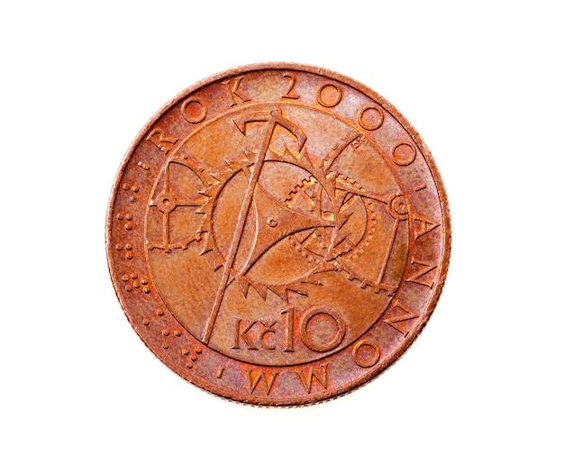Photographié en gros plan sur un blanc dix couronnes, argent europe république tchèque