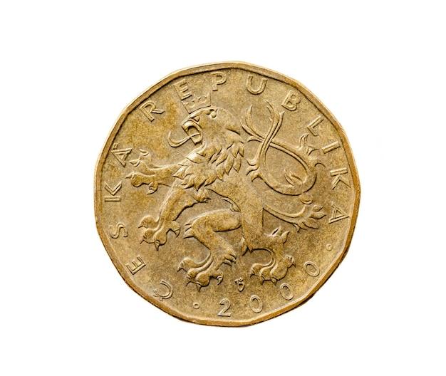 Photographié en gros plan sur un blanc vingt couronnes, argent europe république tchèque
