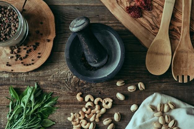 Photographie de gros plan de la nourriture dans la cuisine à domicile