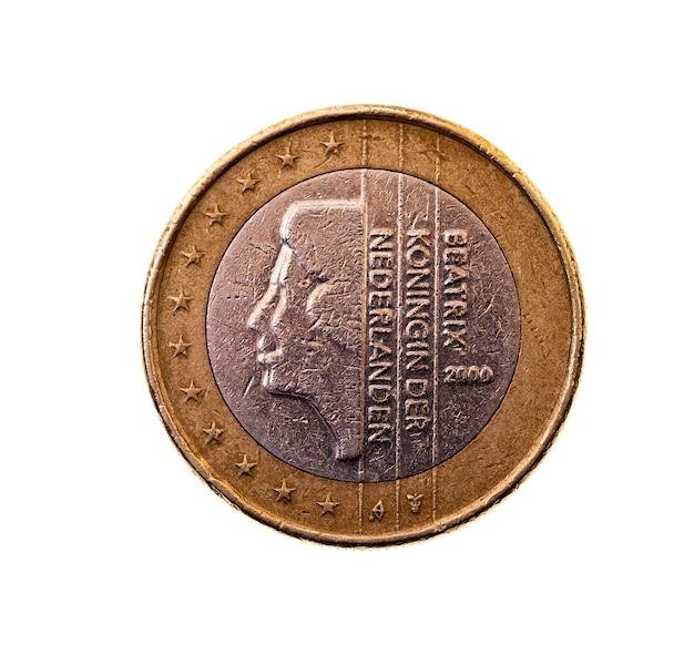 Photographié gros plan sur pièce blanche de l'union européenne d'un euro