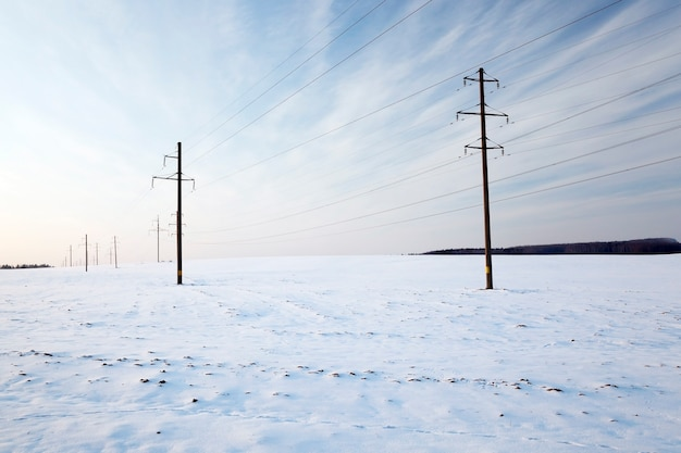 Photographié les lignes électriques, qui conduisent l'industrie de l'électricité