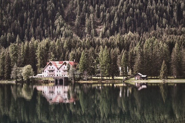 Photographie de paysage de chalet près de la forêt