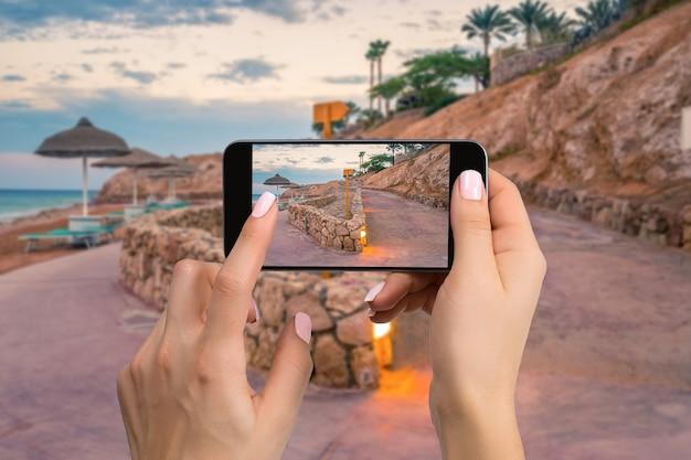 Photographie de téléphone portable d'une plage horizontale vue large