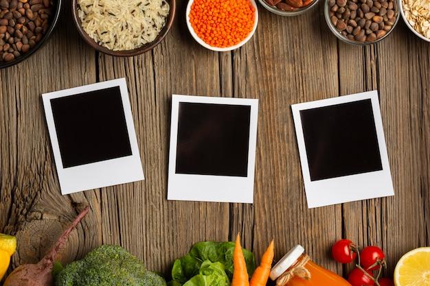 Photos maquette avec des légumes