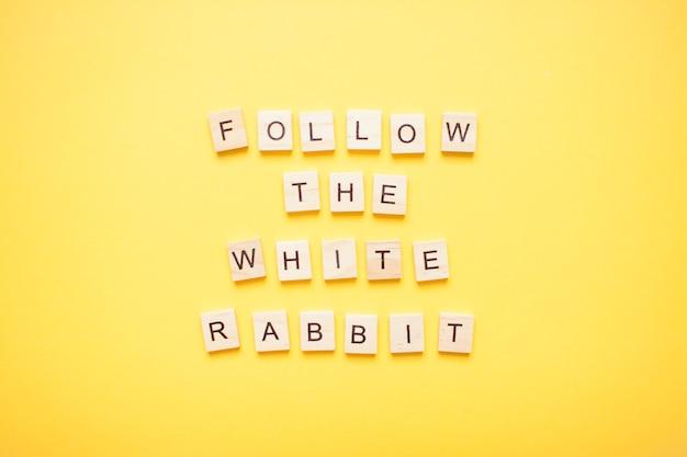 Phrase suivre le lapin blanc fait de blocs de bois sur un jaune clair