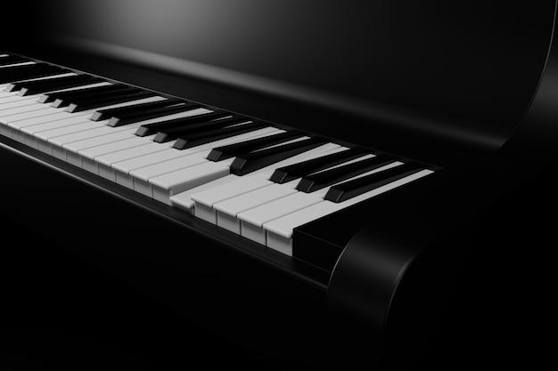 Piano blac et tuiles de piano rendues