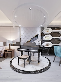 Piano de luxe noir sur podium en marbre, dans un studio avec un mur matelassé de créateur en cuir. salon moderne avec coin repas. rendu 3d.