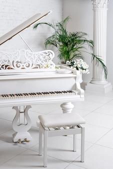 Piano à queue dans un intérieur classique blanc de luxe avec du vin, des palmiers et des fleurs