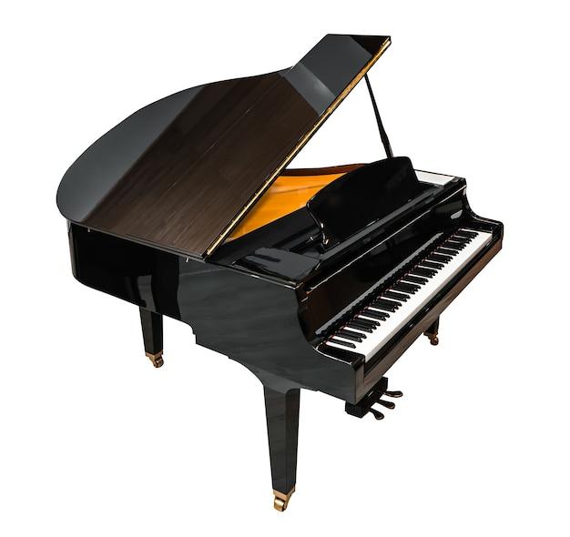 Piano à queue isolé sur blanc