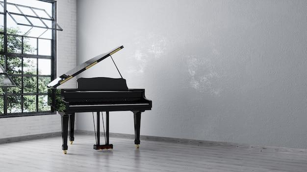 Piano à queue noir près du mur blanc dans une salle vide
