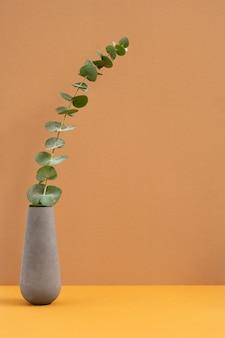 Pichet en argile grise ou en céramique ou vase avec plante verte domestique à longue tige debout sur table de couleur orange sur mur marron clair