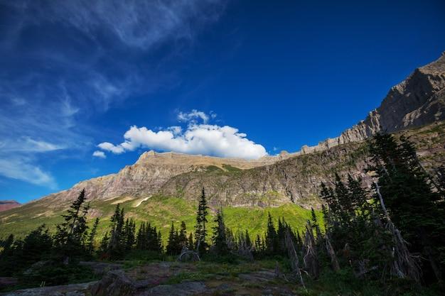 Pics rocheux pittoresques du glacier national park, montana, usa. beaux paysages naturels.