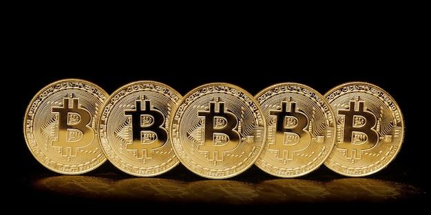 Pièce de bitcoin sur fond noir